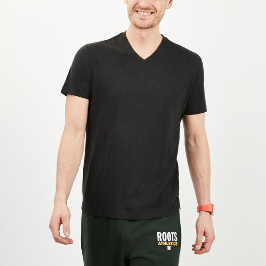 Roots-Men Tops-Withrow V Neck T-shirt-Black Mix-A
