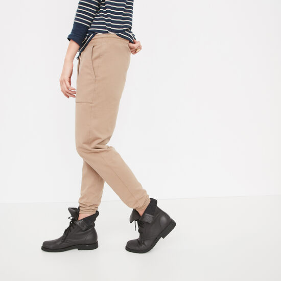 Roots-Women Bottoms-Kelby Twill Jogger-Timberwolf-A