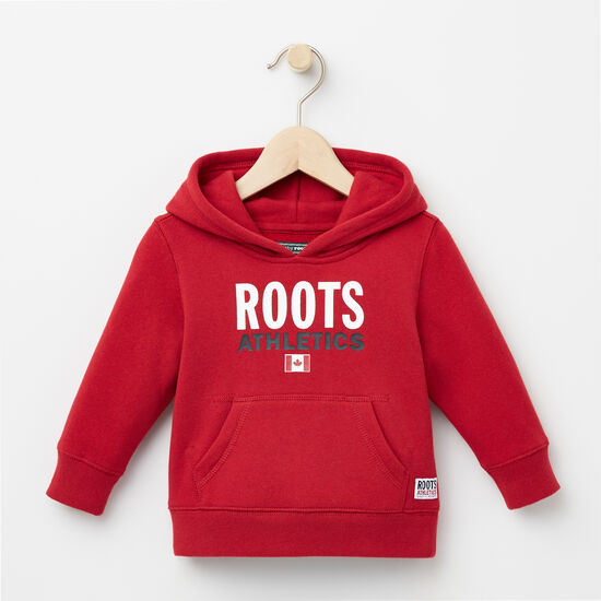 Roots-Kids Tops-Baby Roots Re-issue Kanga Hoody-Scooter Red-A