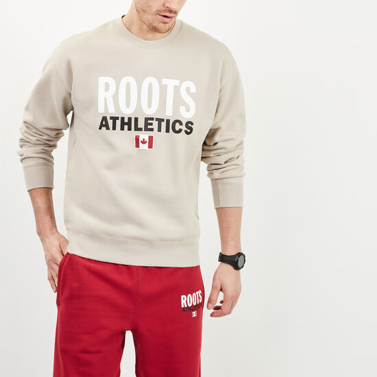 Roots-Men New Arrivals-Roots Re-issue Crewneck-True Khaki-A
