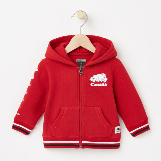 Roots-Kids Baby Boy-Baby Canada Full Zip Hoody-Sage Red-A