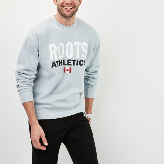 Roots-Men New Arrivals-Roots Re-issue Crewneck-Celestial Blue-A