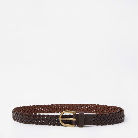 Roots-Women Belts-Womens Braided Belt-Dk Brown-A