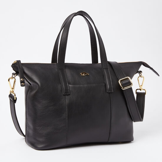 Roots-Leather Totes-Zoe Bag Box-Black-A