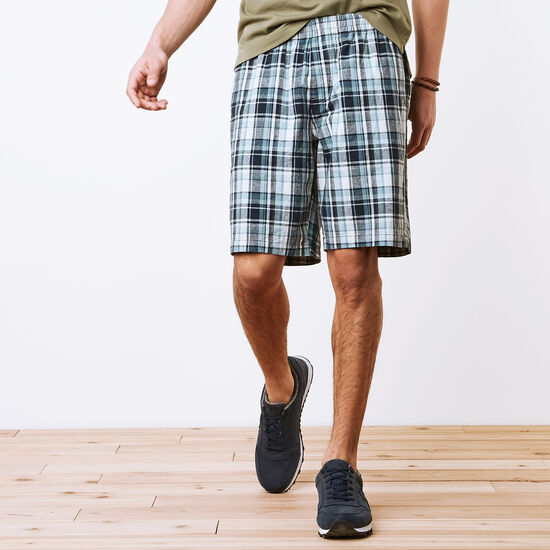 Roots-Men Bottoms-Campbell Plaid Shorts-Cascade Blue-A