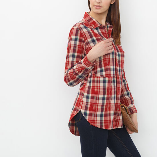 Roots-Sale Women's-Hazelwood Flannel Tunic-Scooter Red-A