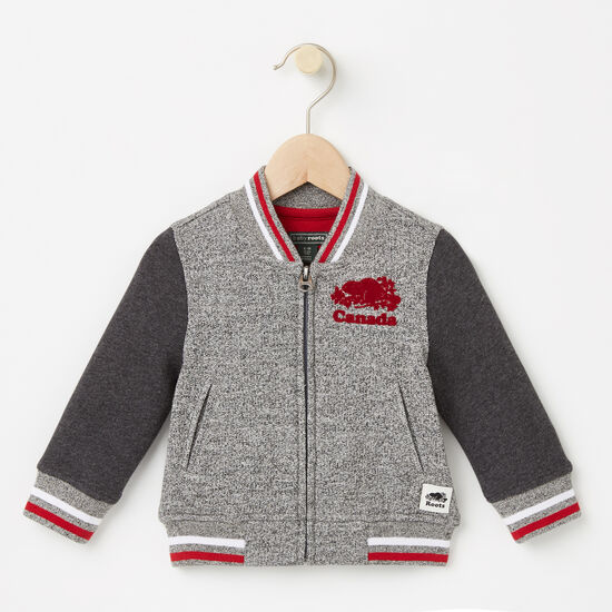 Roots-Kids Roots Salt & Pepper™-Baby Canada Varsity Jacket-Salt & Pepper-A