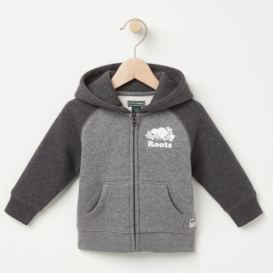 Roots-Kids New Arrivals-Baby Original Contrast Full Zip Hoody-Med Grey Mix-A