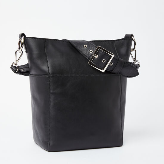 Roots-Leather Shoulder Bags-Equestrian Bucket Box-Black-A