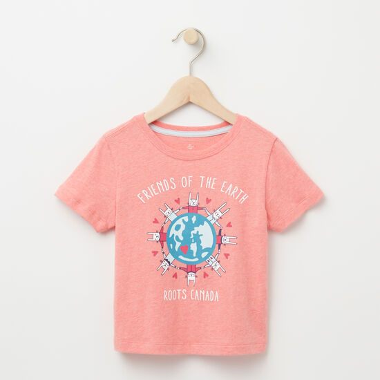 Roots-Kids T-shirts-Toddler Friends Of The Earth T-shirt-Peach Blossom-A