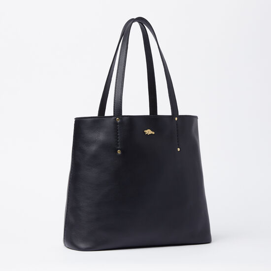 Roots-Leather Totes-Downtown Tote Box-Black-A