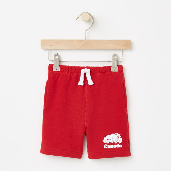 Roots-Kids Bottoms-Baby Canada Original Athletic Shorts-Sage Red-A