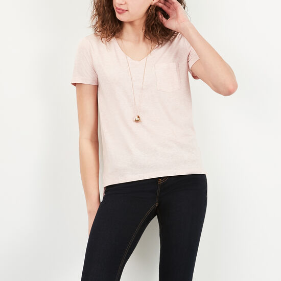 Roots-Women Short Sleeve T-shirts-Mackenzie Pocket Top-Med Silver Pink Mix-A