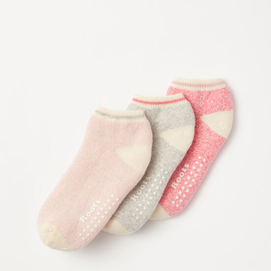 Roots-Kids Accessories-Toddler Cabin Ped Sock 3 Pack-Watermelon Pink-A