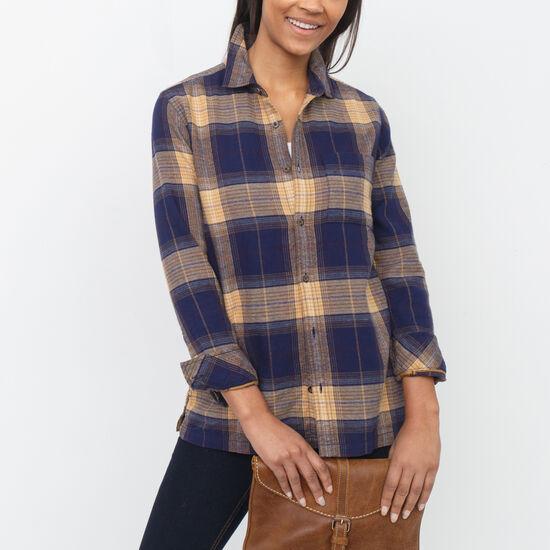 Roots-Women Shirts-Varley Plaid Shirt-Evening Blue-A