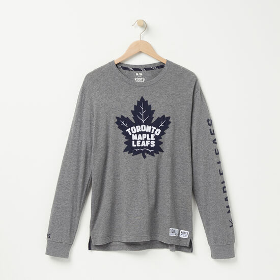 Roots-Men Toronto Maple Leafs-Mens TML Left Wing Long Sleeve T-Shirt-Medium Grey Mix-A