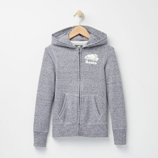 Roots-Kids Roots Salt & Pepper™-Girls Roots Salt and Pepper Original Full Zip Hoody-Salt & Pepper-A