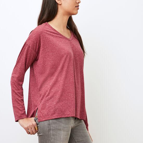 Roots-Women Long Sleeve T-shirts-Marissa Top-Beaujolais Mix-A