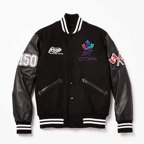 Roots-Leather Men's Leather Jackets-Ottawa 2017 Award Jacket-Black-A