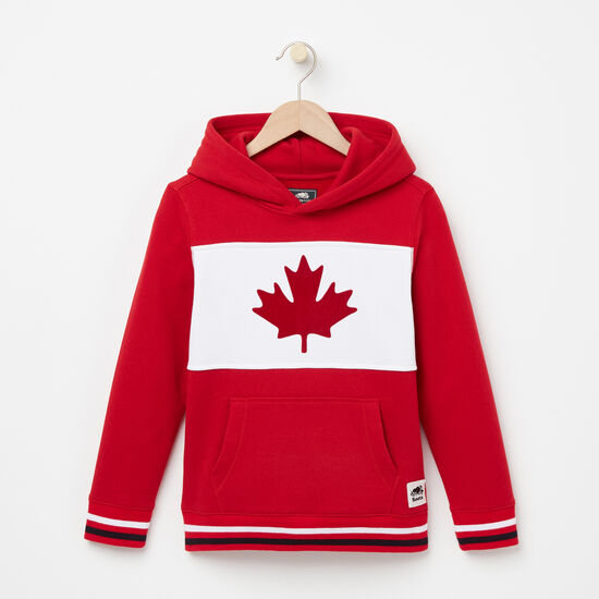 Roots-Kids New Arrivals-Boys Blazon Canada Kanga Hoody-Sage Red-A