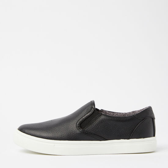 Roots-Shoes Women's Shoes-Womens Slip On Sneaker Leather-Black-A