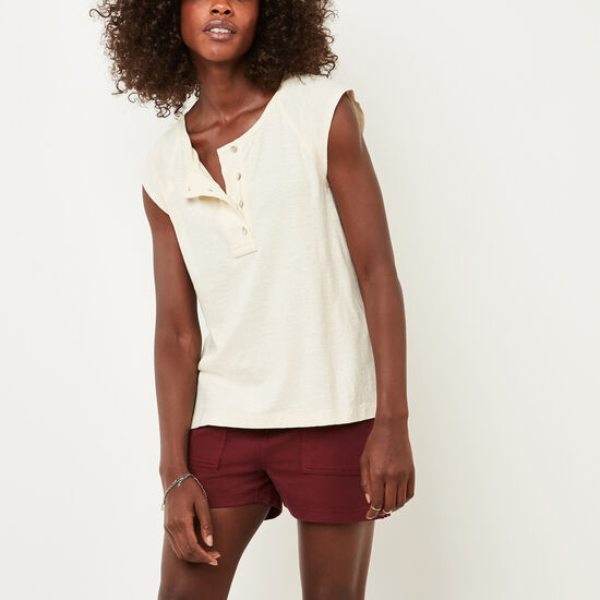 Roots-Women Short Sleeve T-shirts-Highland Henley-Natural-A