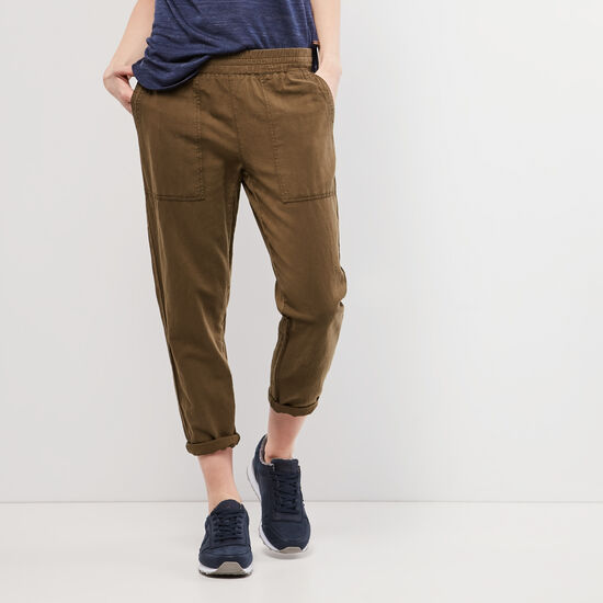 Roots-Women Pants-Nicole Pant-Dark Olive Green-A