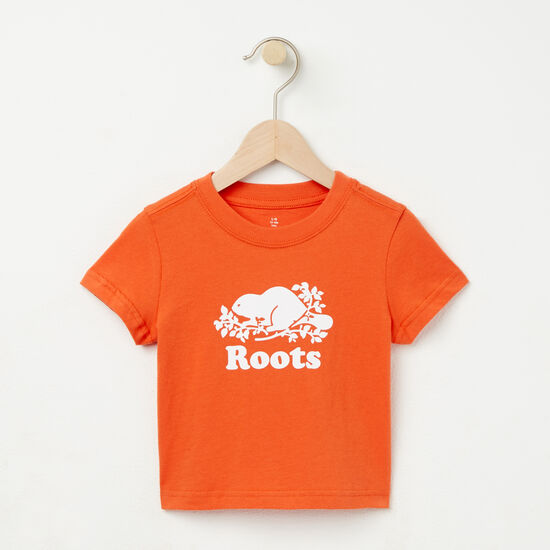 Roots-Kids T-shirts-Baby Cooper Beaver T-shirt-Maple Orange-A