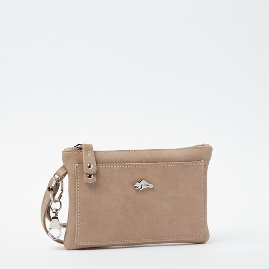 Roots-Leather Colour Of The Month: Sand Tribe-Everyday Clutch Tribe-Sand-A