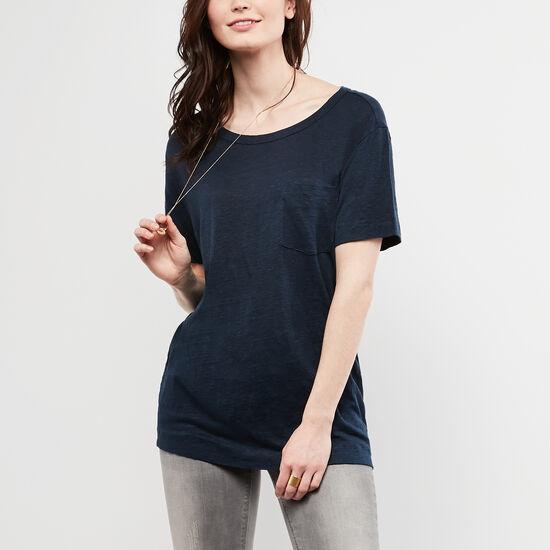 Roots-Women Short Sleeve T-shirts-Harbour T-shirt-Cascade Blue-A