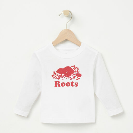 Roots-Kids T-shirts-Baby Cooper Beaver T-shirt-White-A