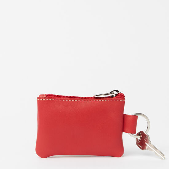 Roots-Women Leather Pouches-Top Zip Key Pouch Bolzano-Scarlet-A