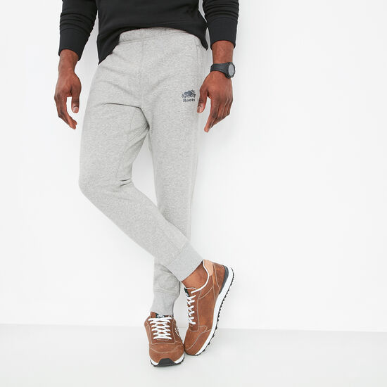 Roots-Men Slim Sweatpants-Camp Fleece Slim Sweatpant-Grey Mix-A