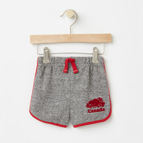 Roots-Kids Bottoms-Baby Cooper Canada Shorts-Salt & Pepper-A