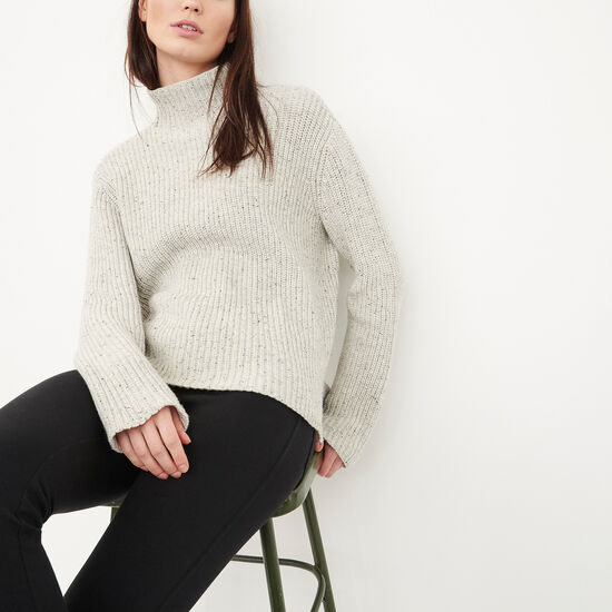 Roots-Women Sweaters & Cardigans-Springbank Speckle Funnel-Light Grey Mix-A