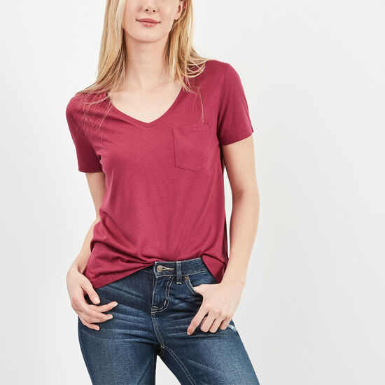 Roots-Women Short Sleeve T-shirts-Mackenzie Pocket Top-Beaujolais-A