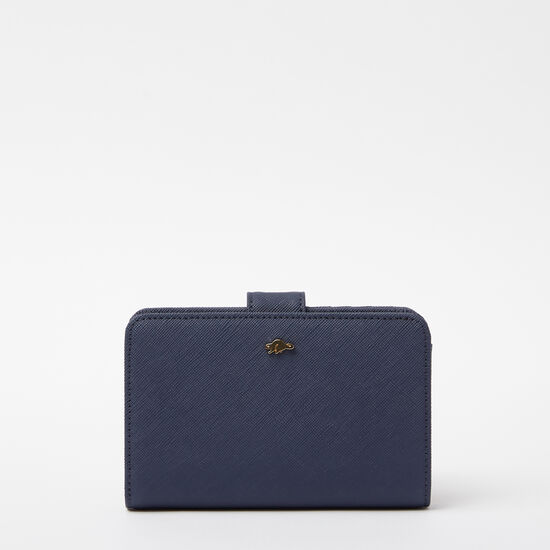 Roots-Leather New Arrivals-Bridget Wallet Saffiano-Dark Indigo-A