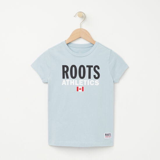 Roots-Kids T-shirts-Girls Roots Re-issue T-shirt-Celestial Blue-A