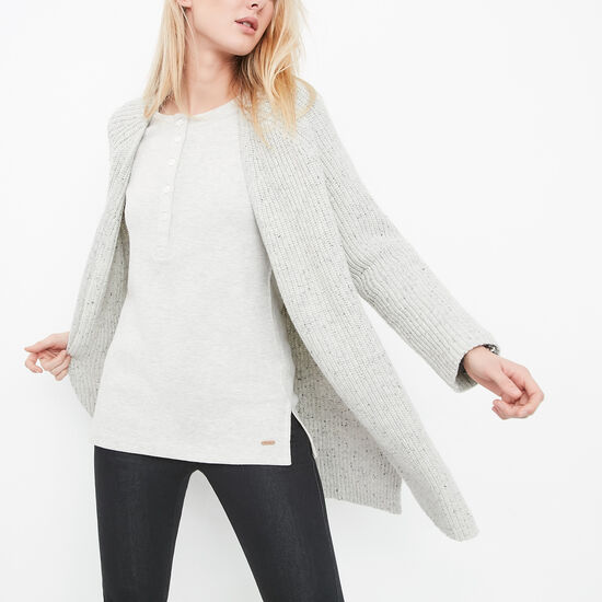 Roots-Women Sweaters & Cardigans-Springbank Speckle Cardigan-Light Grey Mix-A