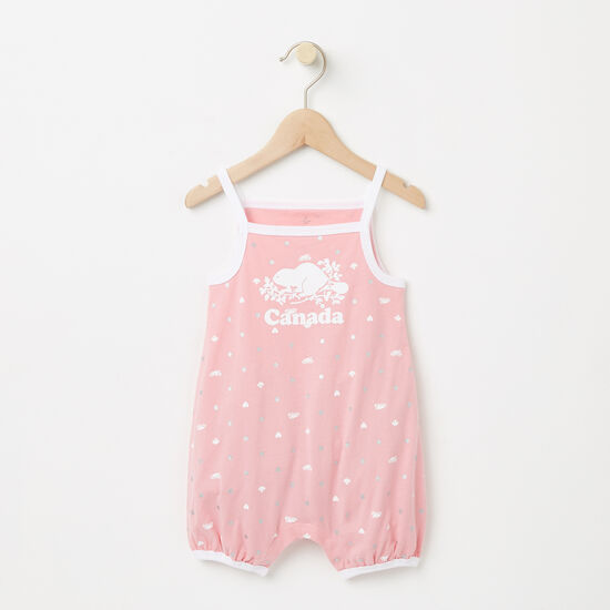 Roots-Kids Canada Collection-Baby Cooper Canada Tank Romper-Peony Pink-A
