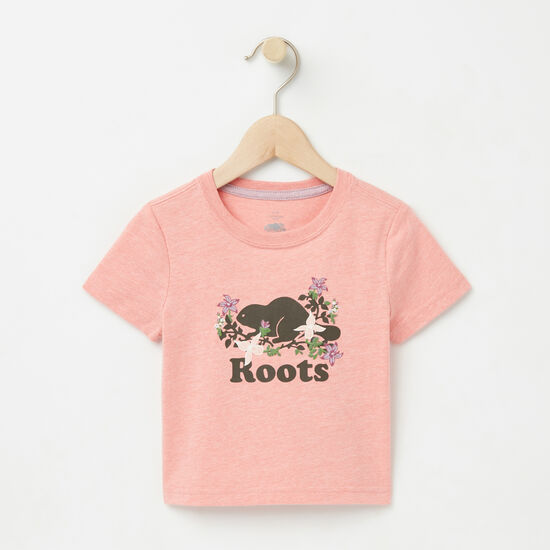 Roots-Kids Baby Girl-Baby Valleyfield Cooper T-shirt-Peach Blossom Mix-A