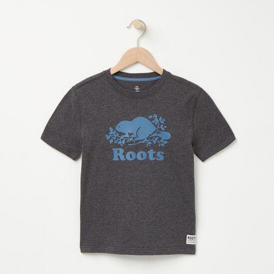 Roots-Kids T-shirts-Boys Cooper Beaver T-shirt-Charcoal Mix-A