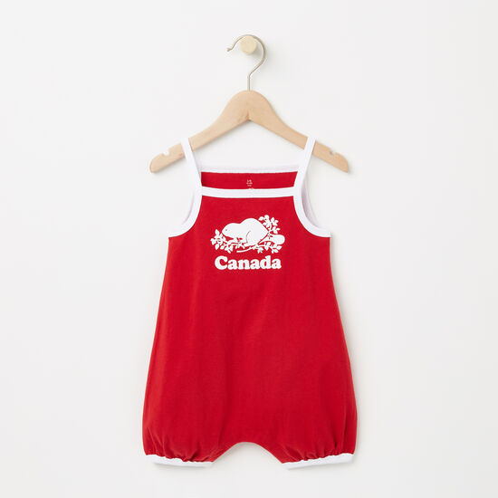 Roots-Kids Canada Collection-Baby Cooper Canada Tank Romper-Sage Red-A