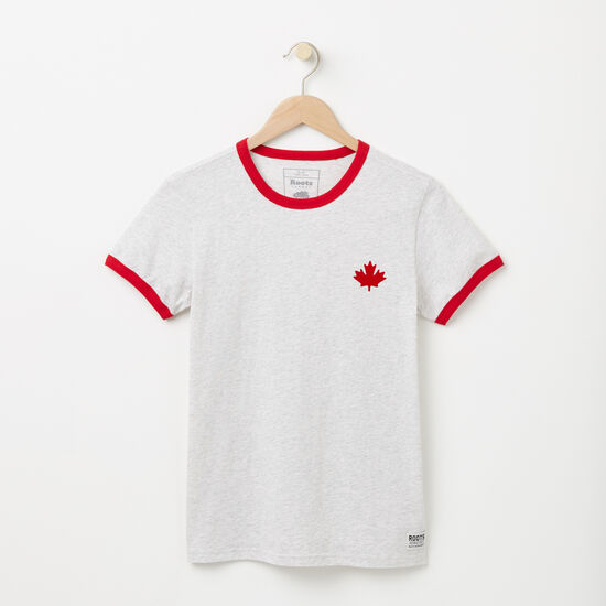 Roots-Women Tops-Maple Canada Ringer T-shirt-White Mix-A