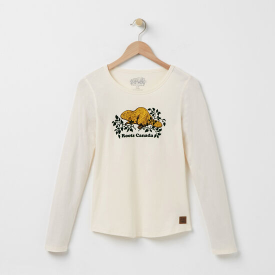 Roots-Women Online Exclusive-Heritage Beaver Top-Pristine White-A