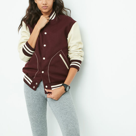 Roots-Women Leather Jackets-Womens Boyfriend Varsity Jacket-Burgundy-A