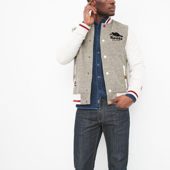 Roots-Men Online Exclusive-Heritage Varsity Jacket-Vintage Pepper-A