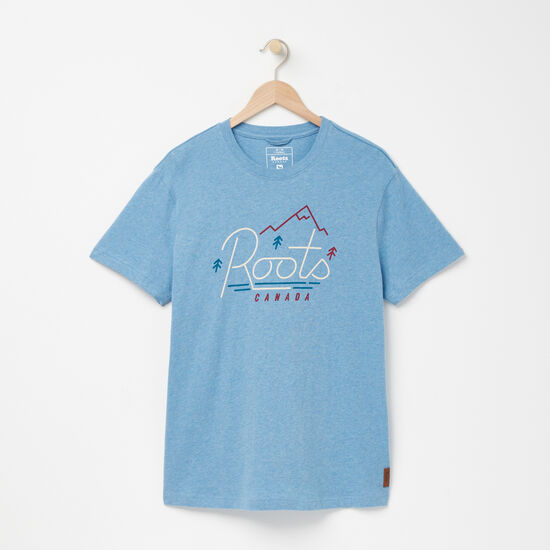Roots-Men Graphic T-shirts-Gladstone Organic T-shirt-Niagara Blue Mix-A