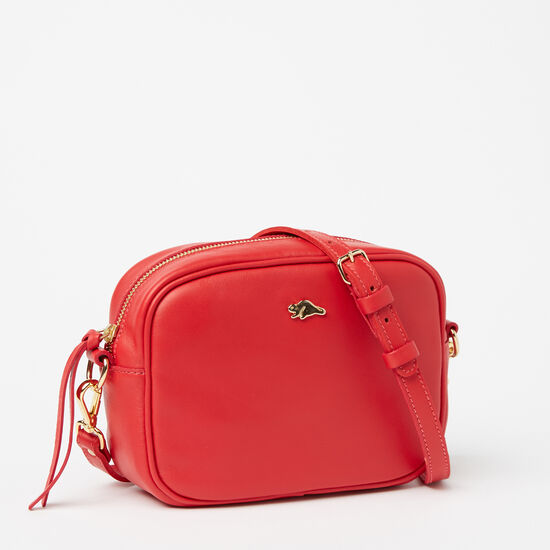 Roots-Women Mini Leather Handbags-Lorna Bag Bolzano-Scarlet-A
