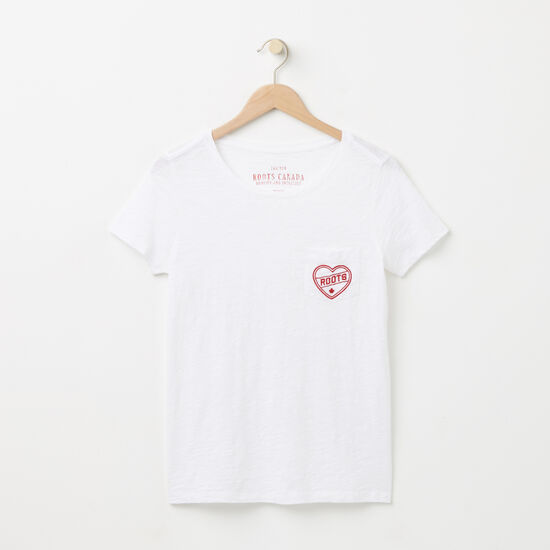 Roots-Women Graphic T-shirts-Roots Heart T-shirt-White-A
